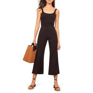 New REFORMATION Black Rylee Scoop Crop Jumpsuit
